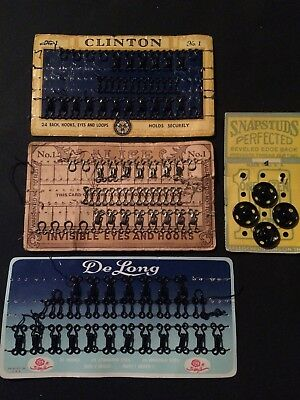 Antique DeLong, Alice, Clinton, Snapstuds Sewing Hooks & Eyes, Snaps