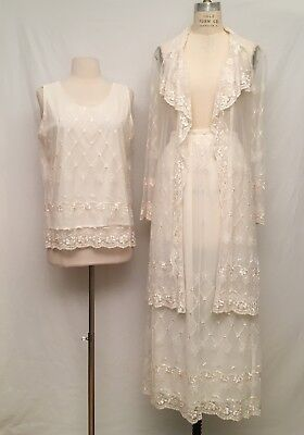 VTG Boho Edwardian Ivory Lace Outfit Dress Skirt Top Kimono Cardigan Wedding S
