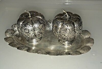 Vintage Mexican Silver Pumpkin Salt & Pepper with Tray MCM 1940's Original Owner