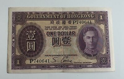 George VI 1938-39 Hong Kong $1 Banknote,Sydney Caine, P740641