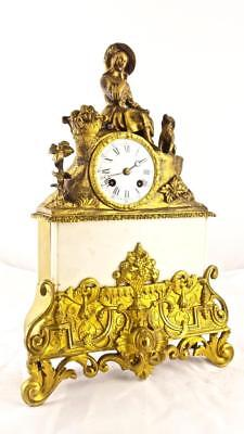 Antique 8 Day 1840's French Empire Figural Bronze & Marble Mantel Clock