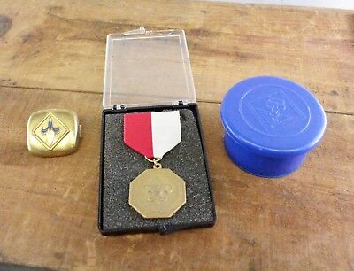 Vintage Scout Lot Boy Scout Medal Cub Scout Welcolite Cup & Neckerchief Slide