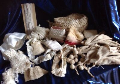Group Of Antique & Vintage Lace Trim Together With White Silky Ribbon & Thread