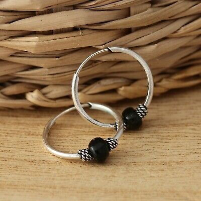 Solid 925 Sterling Silver Sleeper 14mm Round Hoop with Balls Earrings Jewellery