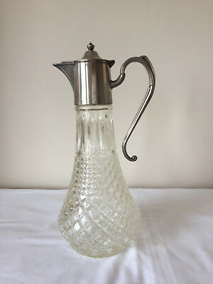 Stylish Vintage English Silver-Plated Glass Claret Jug, Wine Decanter
