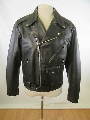 B12295 VTG The Leather Shop Sears Cafe Racer Riders Motorcycle Leather Jacket 42