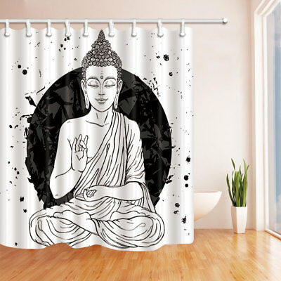Buddha Shower Curtain Zen Sitting Art Painting Bathroom Waterproof Fabric 70