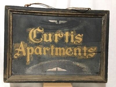 Rare Antique Double Sided Hand Painted Apartment Sign- Curtis, Colonial Apts.