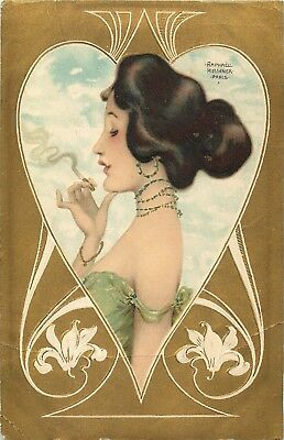 Raphael Kirchner Postcard 1909 Glamour Lady Smoking in a Heart Shaped Border