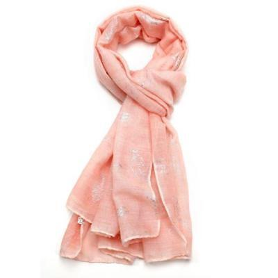 Beautiful Silver Foil Feather Print Large Scarf in Coral or Grey New Design