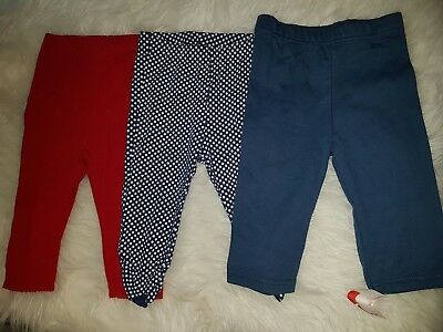 girls 6-9 months leggings trousers bundle spotted plain red navy new next day