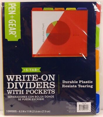 Folder Dividers, 5-Tab Write-on Multi-color Plastic Dividers with Pockets