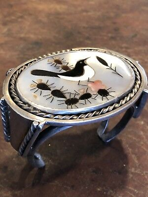 "Gigantic Vintage Zuni Inlay & Sterling Silver Cuff Bracelet ""117 Grams"" Unsigned"