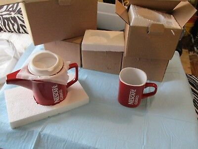 Nescafe Clasico Red and White Coffee Pot and 4 Coffee Mugs MIB!