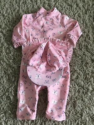 Baby Girl All In One UV Suit With Matching Hat - 6-9 Months - Mothercare