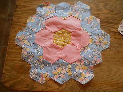 "Vintage Antique 18 Grandmothers Flower Garden Quilt Blocks Cotton  9"" X 9"" 1930s"