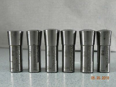 Bridgeport B-2 Collet Set 1/8, 3/16, 1/4, 5/16, 3/8, 1/2,  lot (6) Collets B2