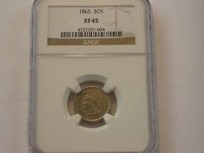 Ngc Graded Xf 45 1865 3 Cent Nickel
