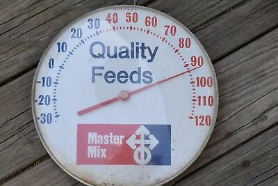 Old Round Master Mix Quality Feed Seed Metal Wall Thermometer with plastic face