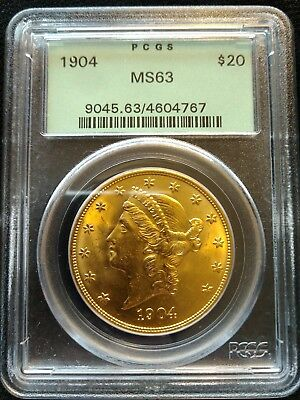 1904 United States $20 Gold Liberty Head, PGCS MS 63