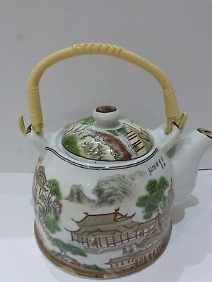 Japanese / Chinese teapot with bamboo design handle, very attractive item, VGC
