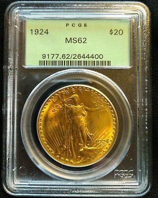 1924 United States $20 Gold St. Gaudens, PCGS  MS 62
