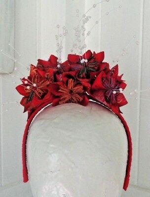 ASTA - Red Origami Flower Fascintaor - HANDCRAFTED - Ginger Avenue Millinery !