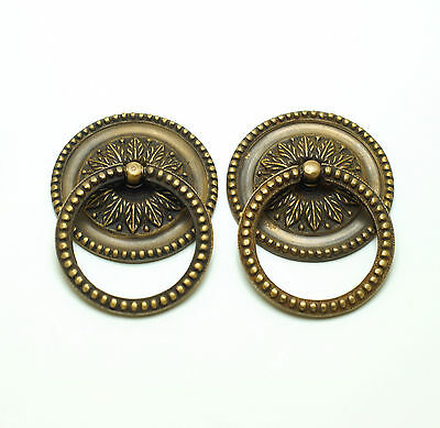 Set of 2 pcs Victorian Classic Carved Round Ring Solid Brass Cabinet KNOB Pulls