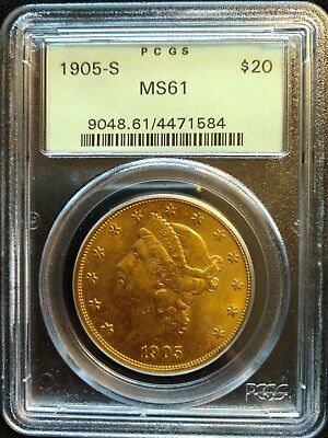 1905-S United States $20 Gold Liberty Double Eagle, PCGS MS 61