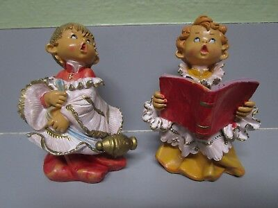 Vintage Fontanini Italy Choir Girl And Boy Figurines 4 Inch 1987