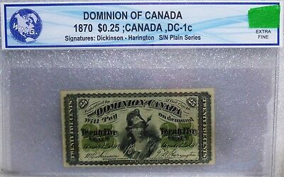 """1870 25 cents """" PLAIN SERIES  """" DOMINION OF CANADA"""