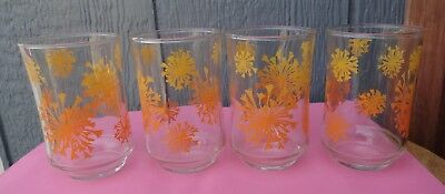 Set of  Vintage Orange Ombre Dandelion Starburst Juice Glasses 8 ounces so cute