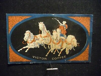victorian trade card # 5568 - VICTOR COFFEE - HORSES AND CHARIOT