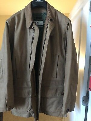 Orvis mens Brown leather jacket Large