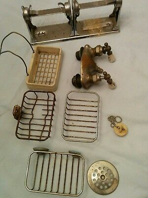 antique bathroom hardware lot faucet toilet soap vintage