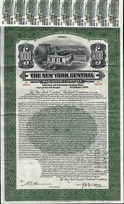 $1000  New York Central Railroad Company Bond With 87 Coupons