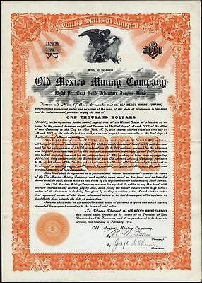 $1000 Old Mexico Mining Co Gold Bond, 1912 Uncancelled Bond