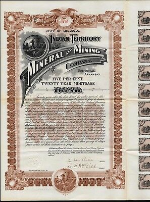 $500 Indain Territory Mineral And Mining Co, Bentonville, Ar. Bond +20 Coupons