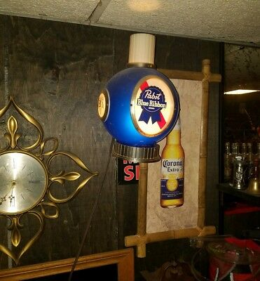 Vintage Pabst Blue Ribbon Lighted Beer Sign Globe Light - Works