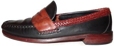 """Allen Edmonds """"Rye NY"""" Black ~ Mahogany Brown Leather Penny Loafers Size 8.5 D"""