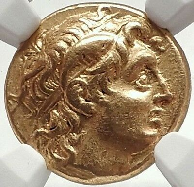 LYSIMACHOS Ancient Gold Stater Greek Coin w ALEXANDER the GREAT w Pedigree NGC