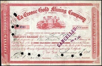 La Crosse Gold Mining Co Of Colorado, 1896, Cancelled Stock Certificate