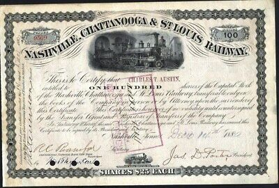 Nashville, Chattanooga & St. Louis Railway Co, 1880, Cancelled Tn Stock Cft.