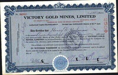 Victory Gold Mines, Limited, Ontario, Canada