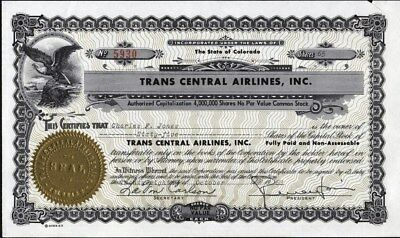Trans Central Airlines, Inc, Colorado, Uncancelled Stock Certificate