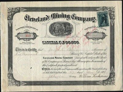 Cleveland Mining Co, 1899, Untah Territory Stock Certificate With Affixed Rev. S