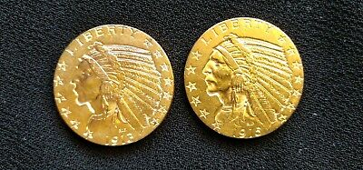 1913 and 1915 United States $5 Indian Gold Indian Head