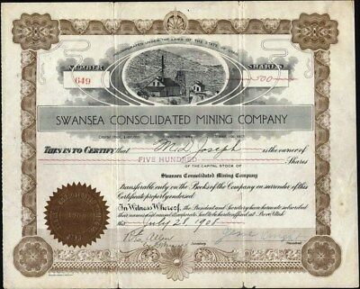 Swansea Consolidated Mining Co, 1908, Provo, Utah Stock Certificate