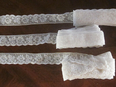"""Vintage 3 Lots Of French Lace With Roses Scallop Edge 1"""" 8Yds+ 22"""" Buy Now $13."""