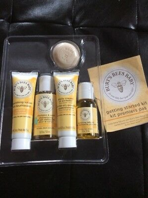 Burts Bees Baby Getting Started Set Lotion Cream Shampoo Oil + New No Box